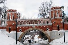 Sikten av Tsaritsyno parkerar i Moskva Royaltyfri Fotografi