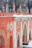 Sikten av Tsaritsyno parkerar i Moskva Gammal bro som göras av röda tegelstenar Arkivbild