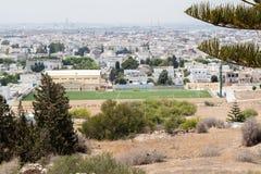 Sikten av Tunis från fördärvar av Carthage, Tunisien, Afrika royaltyfri bild