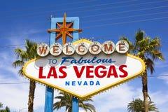 Sikten av välkomnandet till det sagolika Las Vegas tecknet Arkivbilder