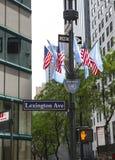 Sikten för den låga vinkeln av amerikanska flaggan och Förenta Nationerna sjunker mot gatan Arkivfoto