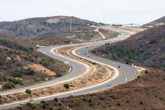 Sikten för huvudväg 73 från Laguna kustvildmark parkerar, Laguna Beach, Kalifornien arkivfoto