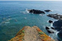 Sikten från ödlor pekar ut för att se i Cornwall, UK arkivfoton