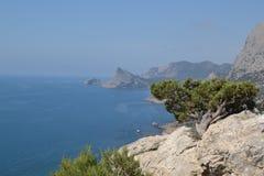 Sikten från berget till havet Arkivbilder