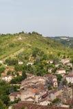 Sikten från Cordes-sur-Ciel Arkivbilder