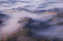 Sikten från den Vilemina vyhlidkaen förbiser, bohemmet Schweiz, Tjeckien Royaltyfri Fotografi