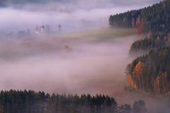 Sikten från den Vilemina vyhlidkaen förbiser, bohemmet Schweiz, Tjeckien Royaltyfria Foton