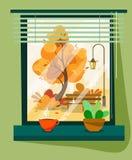 Sikten från ett fönster på en höstgata med ett varmt rånar av kaffe eller te i en plan stil vektor illustrationer