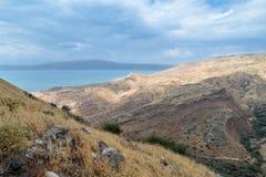 Sikten från fördärvar av greken - romersk stad av det 3rd århundradet F. KR. - den 8th århundradeANNONSEN Hippus - Susita till Go Arkivfoto