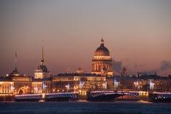 Sikten från floden är inte på den huvudsakliga dragningen av St Petersb Arkivbild
