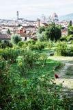 Sikten från Giardino delle steg till staden av Florence, Tuscany Arkivbild