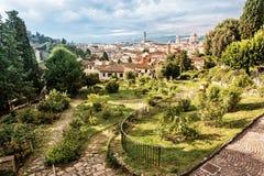Sikten från Giardino delle steg till staden av Florence, Tuscany, Arkivbild