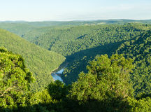 Sikten från Raven Rock i tunnbindare vaggar den statliga skogen WV arkivbild