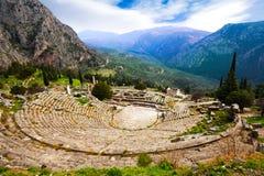 Sikten på amfiteatern, Delphi Arkivbilder