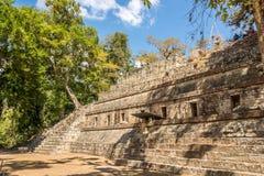 Sikten på fördärvar av Royal Palace i Copan - Honduras royaltyfria bilder