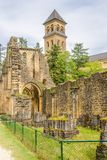 Sikten på fördärvar av Villers den devant Orval kloster i Belgien arkivfoton