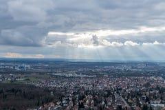 Sikten på Stuttgart från televisiontorn i Tyskland Royaltyfri Foto