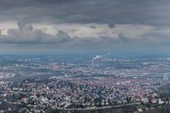 Sikten på Stuttgart från televisiontorn i Tyskland Royaltyfria Foton