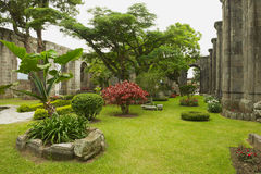 Sikten till den inre gården på fördärvar av den Santiago Apostol kyrkan i Cartago, Costa Rica royaltyfria bilder