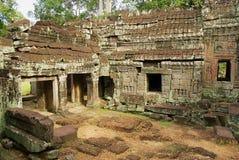 Sikten till fördärvar av den Banteay Kdei templet i Siem Reap, Cambodja Royaltyfria Bilder