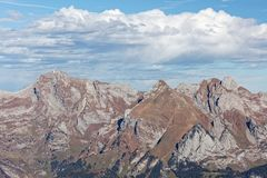 Sikter av Alpstein från Hinterrugg arkivbild