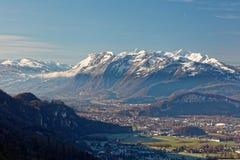Sikter av Appenzell fjällängar i Schweiz royaltyfri bild