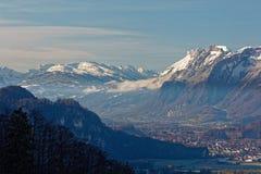 Sikter av Appenzell fjällängar i Schweiz arkivfoto