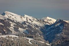 Sikter av den snöig Winterstaude massiven från Schwarzenberg royaltyfri fotografi