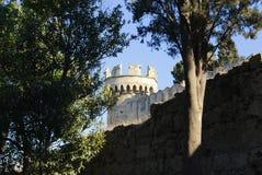 Sikter av det medeltida tornet till och med träden Royaltyfri Foto