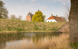 Sikter av en historisk holländsk slott Arkivbilder