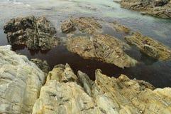 Sikter av fjärden med vågorna som bryter på dess, vaggar på Tapia De Casariego Natur lopp, rekreation royaltyfri foto