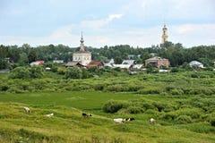 Sikter av gamla hus och kyrkor Royaltyfri Bild