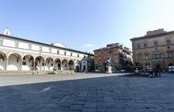 Sikter av grannskapar, gator och kyrkor av Florence Arkivbild