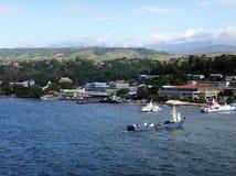 Sikter av Honiara från ett kryssningskepp, Solomon Islands arkivbild