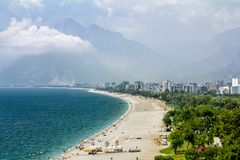 Sikter av kusten och stranden i Antalya Arkivbilder