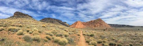 Sikter av sandsten och lava vaggar berg och ökenväxter runt om den nationella naturvårdsområdet för röda klippor på de gula runda royaltyfri bild
