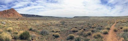Sikter av sandsten och lava vaggar berg och ökenväxter runt om den nationella naturvårdsområdet för röda klippor på de gula runda royaltyfria bilder