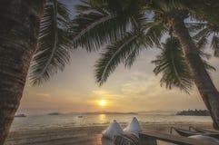 Sikter av soluppgång med kuddar och kokosnötpalmträd på tropisk strandbakgrund Royaltyfri Fotografi