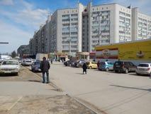Sikter av staden av Volgograd bostads- och administrativa byggnader i byn Spartanovka, vår 2014 Arkivbilder