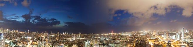 Sikter av stadsnattljusen arkivbild