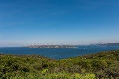 Sikter av Sydney från det norr huvudet som är manliga, Australien royaltyfri fotografi