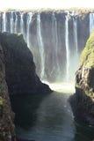 Sikter av Victoria Falls från bron till Zimbabwe Arkivfoto