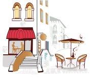 sikter för cafesstadsett slags tvåsittssoffa Arkivbild