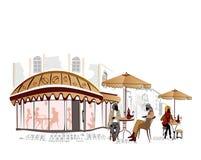 sikter för cafesstadsett slags tvåsittssoffa Stock Illustrationer