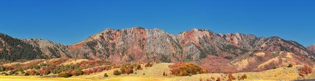 Sikter för landskap för askfläderkanjon, populärt som är bekanta som sardinkanjonen, nord av Brigham City inom de västra lutninga royaltyfria foton