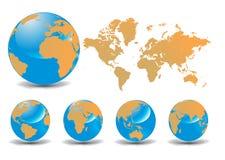 sikter för symboler för olika jordklot för jord 3d glansiga Royaltyfri Fotografi