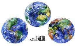 Sikter för vattenfärgplanetjord Americas, Europa och asia sikter vektor illustrationer