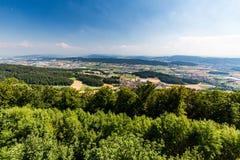 Sikter från till berget Lagern till Zurich arkivbild