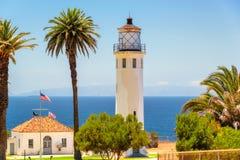 Sikter på punkt Vicente Lighthouse, Los Angeles, Kalifornien Arkivfoton
