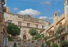 Sikterna av Taormina, Sicilien Arkivbild